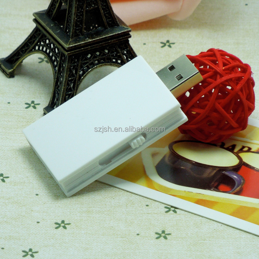 Custom new design 100% real Capacity usb 2.0 book shape plastic wedding flash drive favors usb for promotional gift