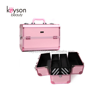 Keyson Pink Fashion Aluminium Case for Cosmetics, Nail Supply Case with Shoulder Strap