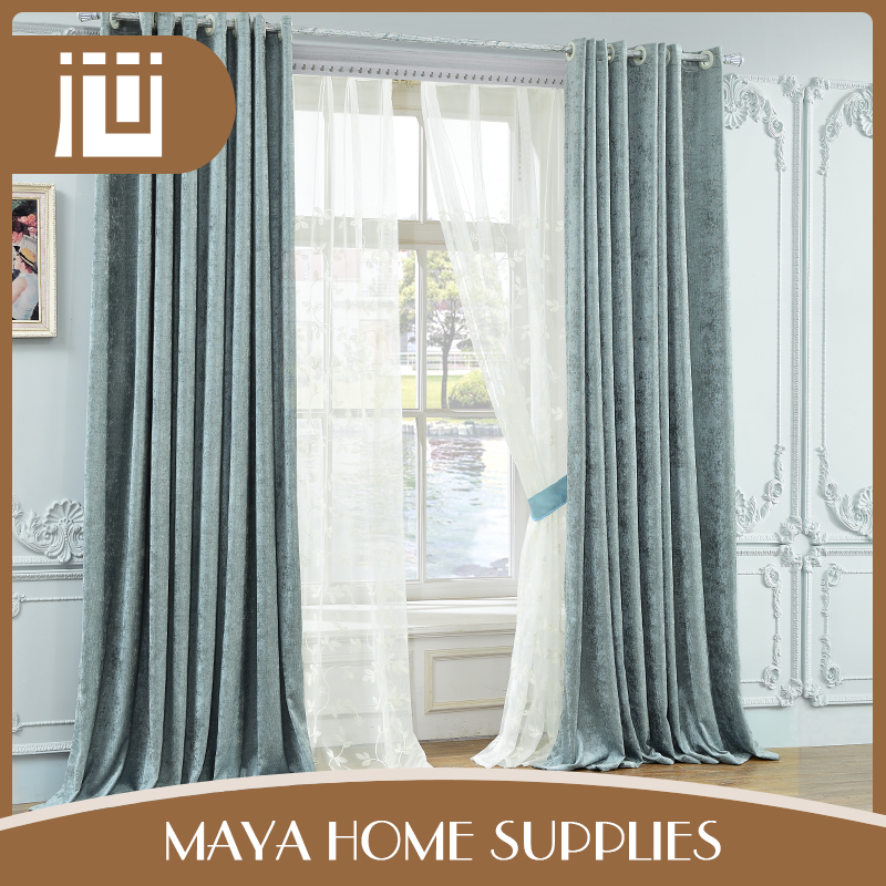 Popular modern design india blue woven living room blackout curtains