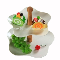 New Arrival Two Tiers Ceramic Snack Plates With Bamboo Stand