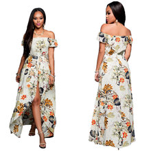 women ladies summer clothes sexy strapless plant print thigh split maxi fashion dresse