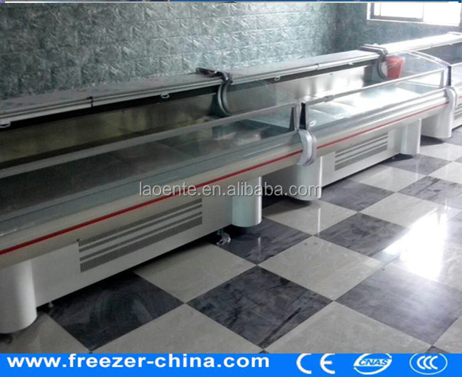 High quality open glass deli food showcase butcher equipment meat freezer for sale