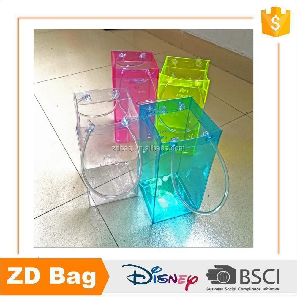 Durable cheap promotional clear pvc wine tote bag