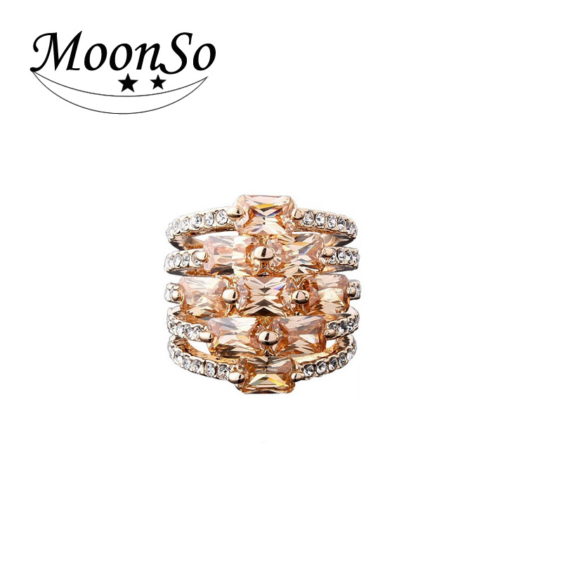Wholesale high quality MOONSO gold ring with the enamel gold om ring ring gold KR625
