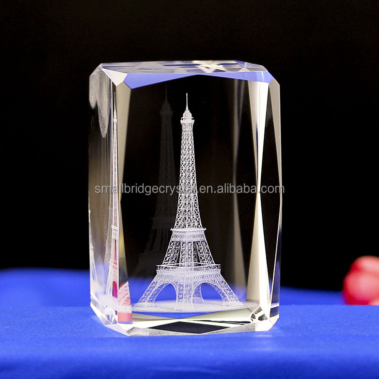 3d engraved raw crystal glass block for business souvenirs