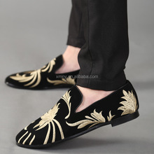 hand made embroidery loafers shoe for men leather
