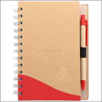 customized ecological notebook kraft paper blank notebook hardcover paper notebook notepad with pen attached