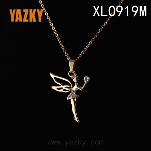 angel wing necklace rhinestone necklace rose gold plated