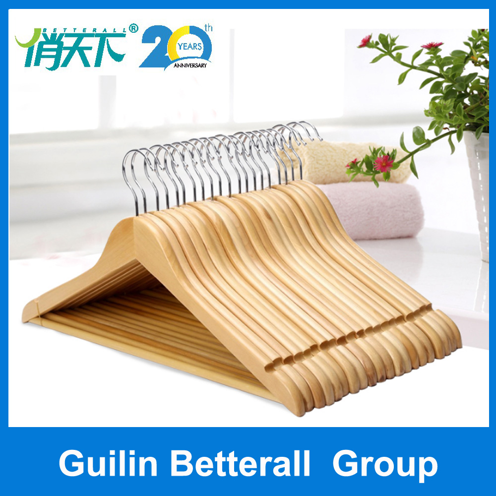 luxury high quality hotel or garment use wooden suit coat shirt clothes cheap wood hanger clothes