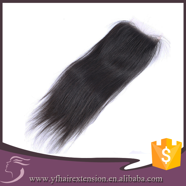 "Hot Sale Natural Color Straight Free Part 4X4"" Virgin Hair Bundles With Lace Closure"