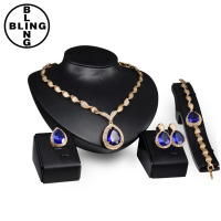 >>>Fashion 4Pcs Costume Wedding Jewellery Sets 18K Gold Plated African Fine Jewelry Set with Austrian Crystal