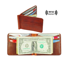 Crocodile leather classical stainless steel money clip flip wallet