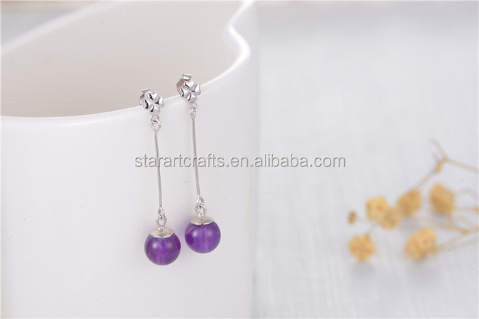 New Design Fashion High Quality 925 Sterling Silver Drop Earring with Purple Agate