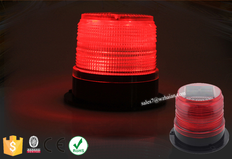 Bright Rotating Solar LED Warning Beacon Lights/Red Traffic Signal Strobe Beacon For Cars TBH-628S