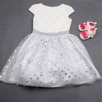 white lace flower girls wedding party dresses