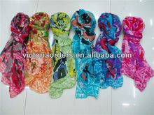 fashion wholesale 100%polyester volie mum flowers printed scarf