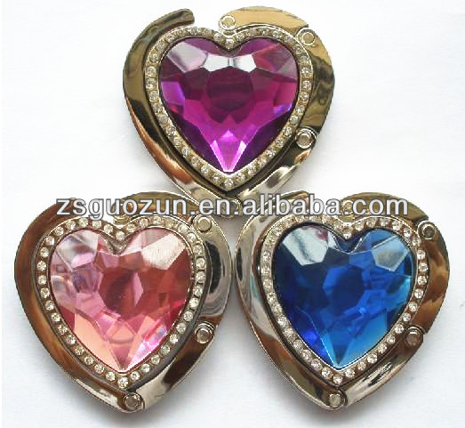 Colourful Metal Crystal Heart Shape Foldable Customized Logo Bag Hanger purse hook For Ladies Gift