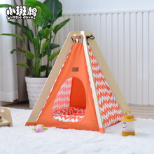 2018 Yiwu Pet Bed Products Folding dog cat bed wooden pet tent teepee