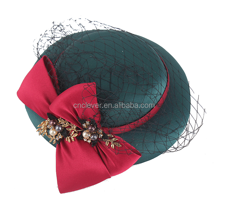 New coming Hot selling fine design the red ribbon wedding headwear with decorate the pearl