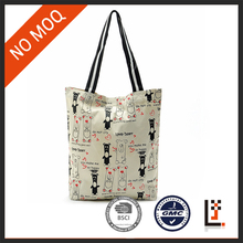 Personalised standard size folding shopping bag/canvas textile shopping bag in stock