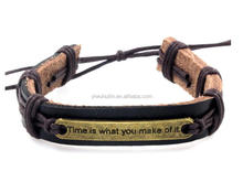 HL016 Yiwu Huilin Jewelry simple design time is what you make of it engraved letter message genuine leather bracelet
