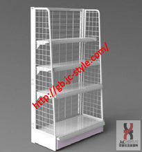 metal hooks hanging display shelf/accessory display racks and stands/supermarket wire mesh display rack with hooks and baskets