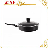 carbon steel nonstick fry pan with glass lid and bakelite handle