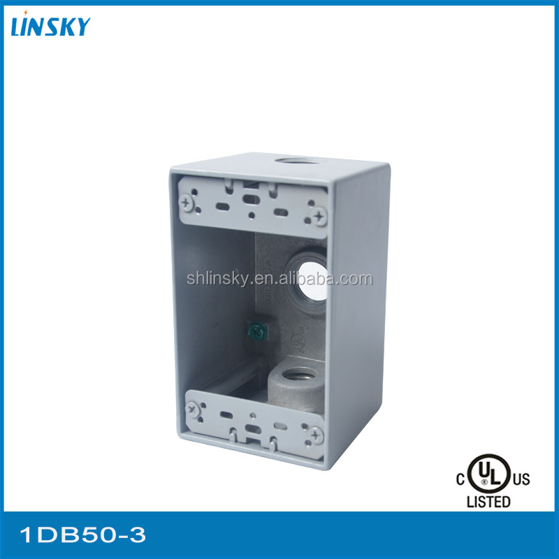 "aluminium 3out let holes 1""hole 23.8 cubic inch 1 gang telephone electrical junction box metal"