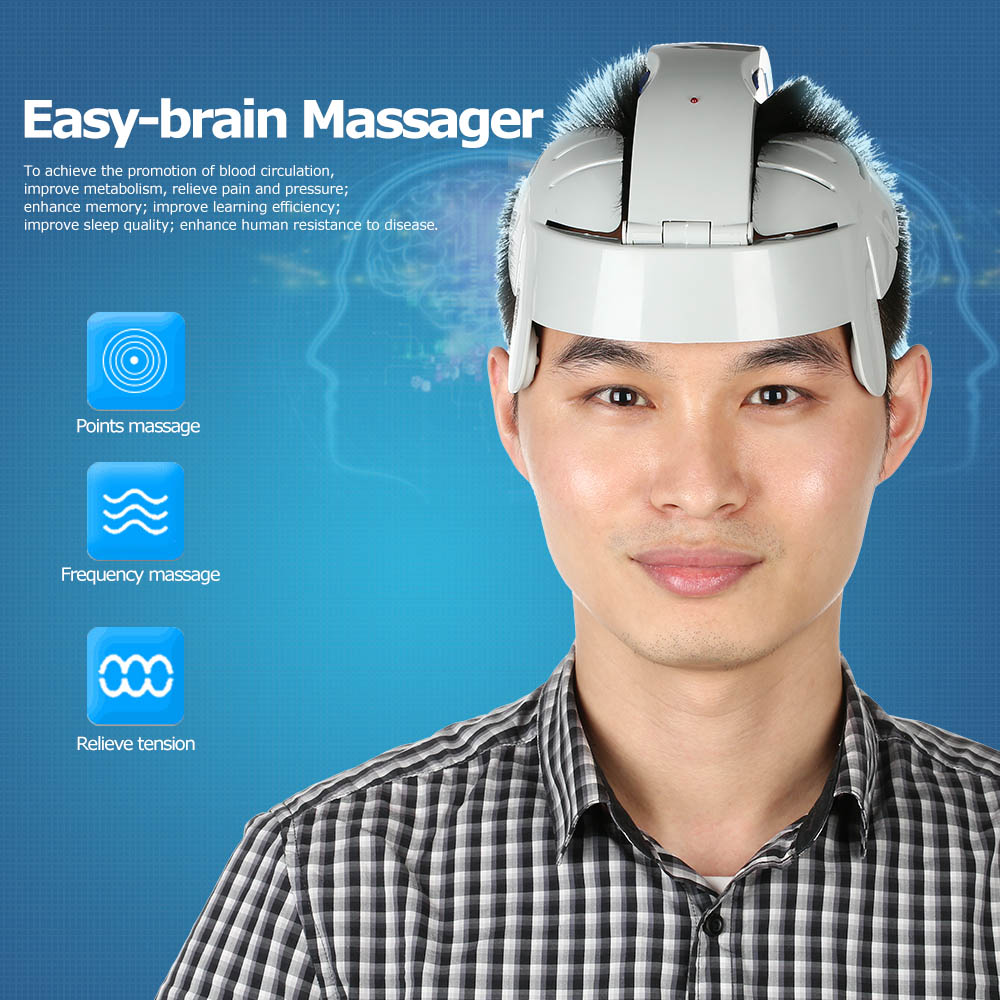 Head Vibration Massage Easy-brain Massager Electric Head Massage & Relax Brain Acupuncture Points Stress Release Machine US Plug