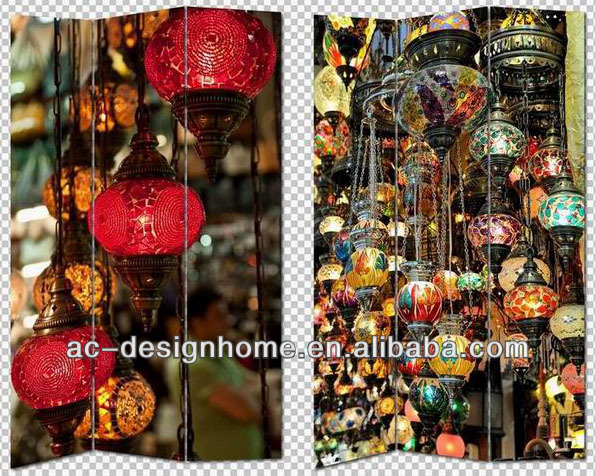 COLORFUL LAMPS 3 PANEL CANVAS/WOODEN FOLDING SCREEN