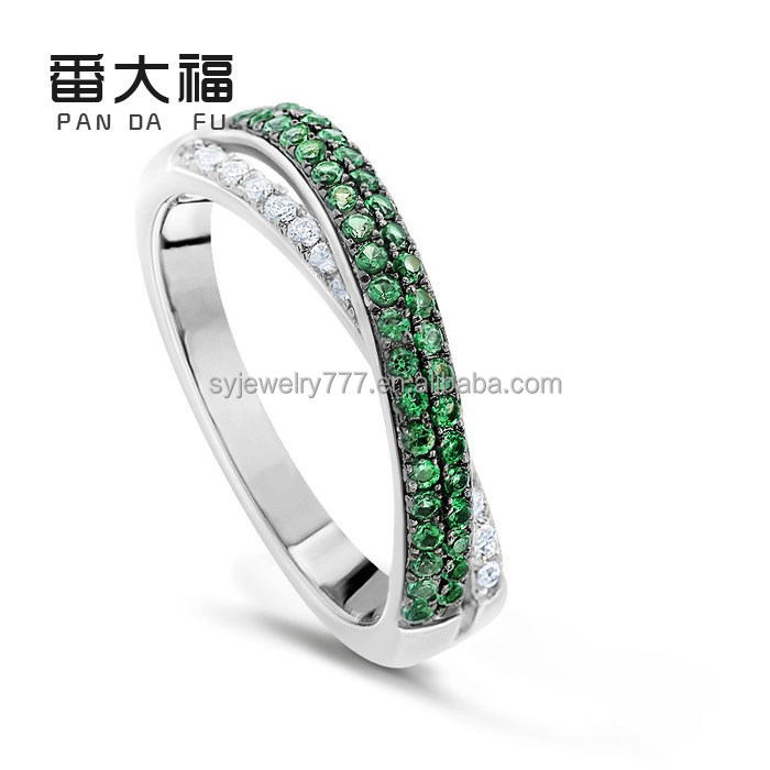 fashion design 925 silver jewelry ring setting with green CZ