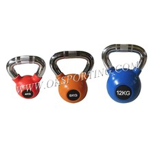 Wholesale Crossfit Weight Lifting Chrome Color Rubber Coated Kettlebell