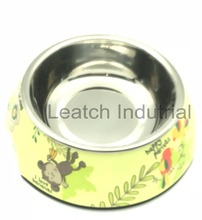 Wholesale Eco-friendly slow feed dog bowl Stainless steel& Melamine pet feeder dog bowl dog bowl for cocker spaniel