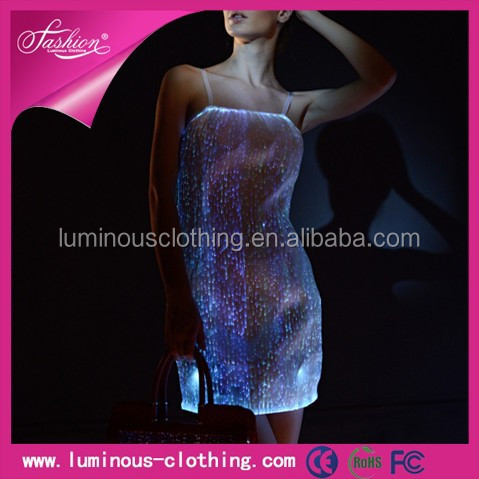 2015 led luminous fashion led dress light flashing rechargeable