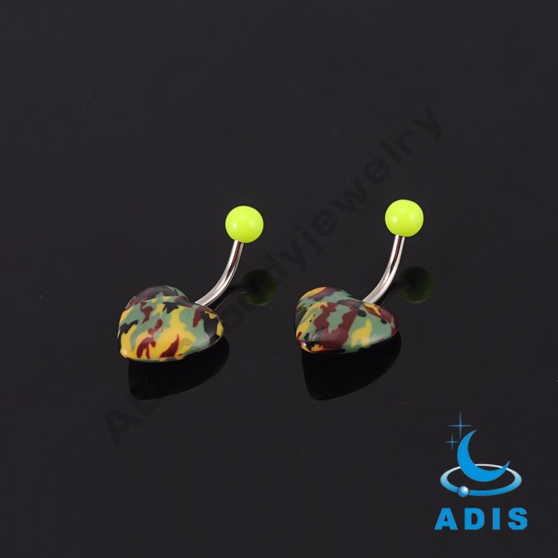 New arrival body piercing jewelry heart shaped acrylic belly button ring