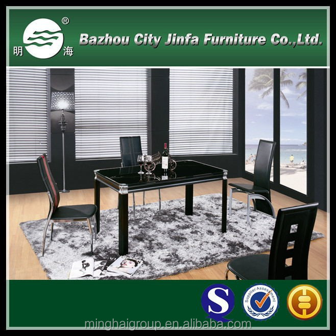 Black glass dining room long table MDT-295