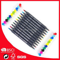 STA3110 rgb multi colorful soft brush head twin marker pen with OEM box/dispaly holder