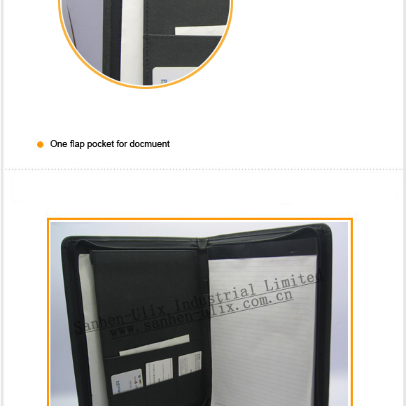 High quality zipper A4 leather compendium PU portfolio file folder with LOGO embossed