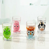 Animal bathroom set plastic double wall kids mug cute decorated tumbler