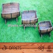 Round Wooden Flower Pot with hoop iron DFG1003