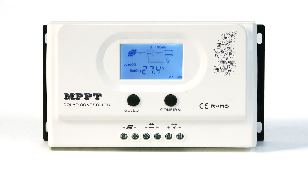 LCD Wiser1-12V 24V auto cooling mppt solar charge controller 30A