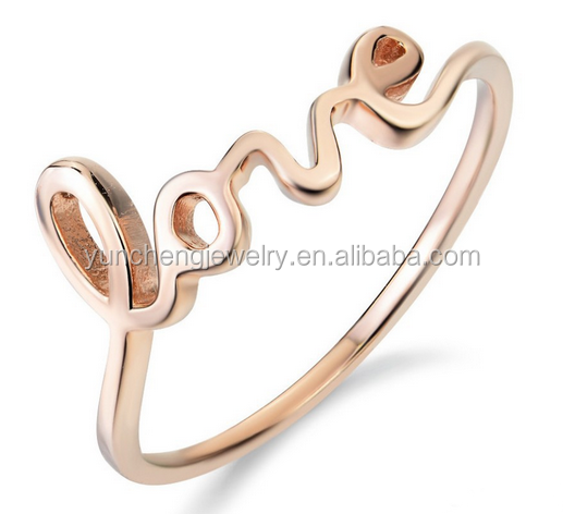 YCR6853 925 Sterling Silver Rose Gold Plated Plain Ring and Love Ring