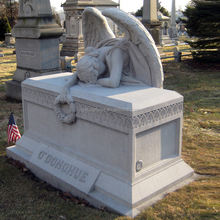 Custom stone cemetery tomb design white marble weeping angel decoration