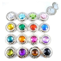 Promotional fashion foldable alloy purse handbag hook hanger bag holder crystal metal circular mirror purse hook