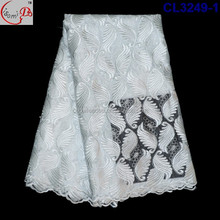 Factory outlet directly textiles fabric/fashion nigerian net lace fabric/white charming embroiderey tulle lace for bridal dress