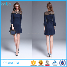 Clothing women long sleeve round collar denim dress flower lace patchwork short mini dresses