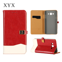 Fashionable alibaba express customized magnetic closure for samsung galaxy j7 mobile phone leather case