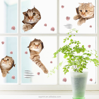 SK7116 3D Cute Cats Animal Wall Sticker DIY Home Decor Living Room Kitchen Kids Wall Decal