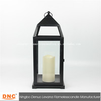 Large black metal candle lantern