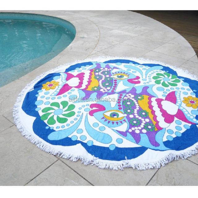 China manufacture Ombre Round Mandala Tassel Fringing Beach Throw Roundie Yoga Mat Table Cloth Hippy Hippie Boho Gypsy